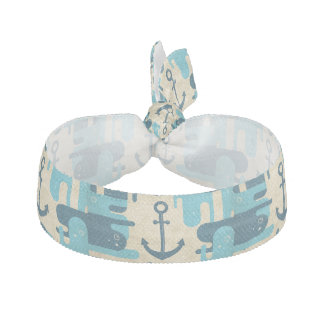 Teal Retro Nautical Anchor Design Hair Tie