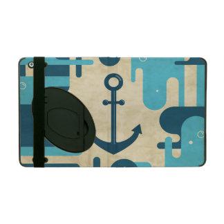 Teal Retro Nautical Anchor Design iPad Folio Case