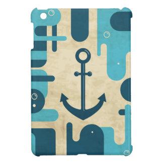 Teal Retro Nautical Anchor Design iPad Mini Covers