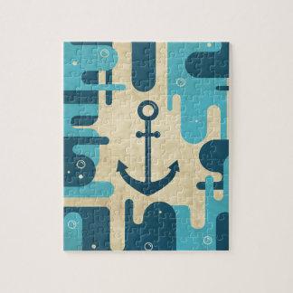 Teal Retro Nautical Anchor Design Jigsaw Puzzle