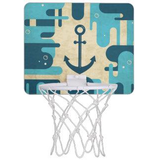 Teal Retro Nautical Anchor Design Mini Basketball Hoop
