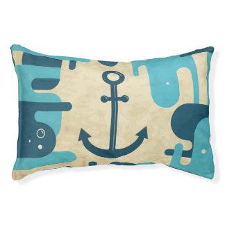 Teal Retro Nautical Anchor Design Pet Bed