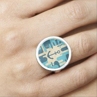 Teal Retro Nautical Anchor Design Photo Rings