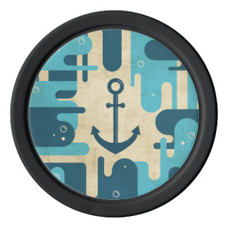 Teal Retro Nautical Anchor Design Poker Chips