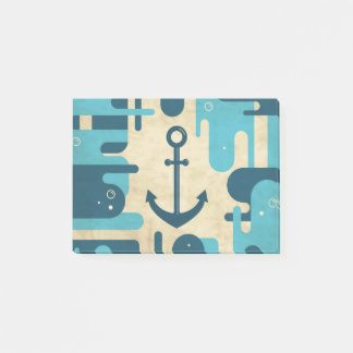 Teal Retro Nautical Anchor Design Post-it Notes