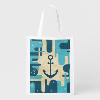 Teal Retro Nautical Anchor Design Reusable Grocery Bag