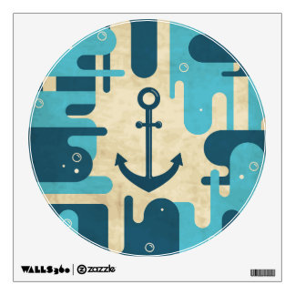 Teal Retro Nautical Anchor Design Wall Decal