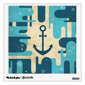 Teal Retro Nautical Anchor Design Wall Sticker