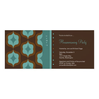 Teal Retro Pattern House Warming Party Invitation
