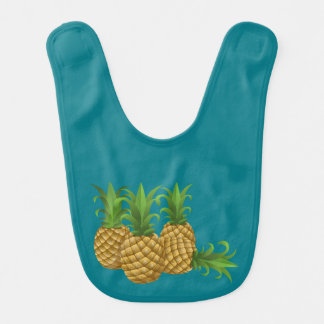 Teal Retro Vintage Pineapple Bibs
