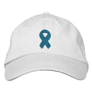 Teal Ribbon Awareness Embroidered Baseball Cap
