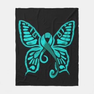 Teal Ribbon Butterfly! Fleece Blanket