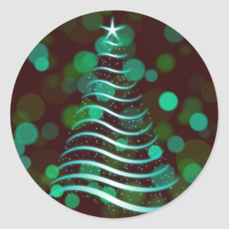 Teal Ribbon Christmas Tree on Holiday Bokeh Classic Round Sticker