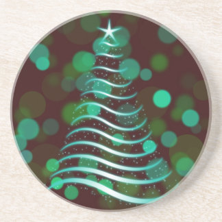 Teal Ribbon Christmas Tree on Holiday Bokeh Coaster