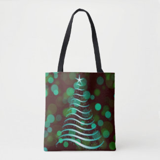 Teal Ribbon Christmas Tree on Holiday Bokeh Tote Bag