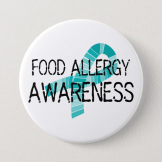 Teal Ribbon Food Allergy Awareness Shades of Teal 3 Inch Round Button
