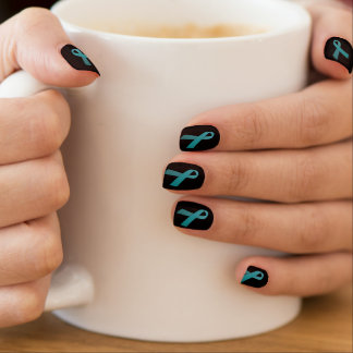 Teal Ribbon nail covers (several background colors Minx Nail Art