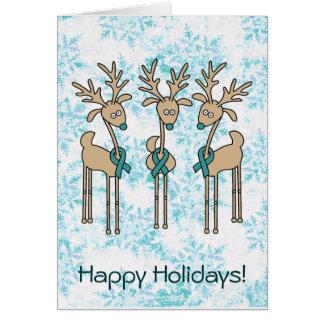 Teal Ribbon Reindeer Card