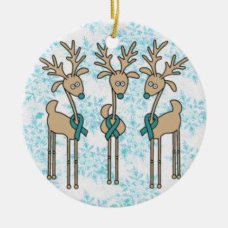 Teal Ribbon Reindeer - Cervical Cancer Ceramic Ornament
