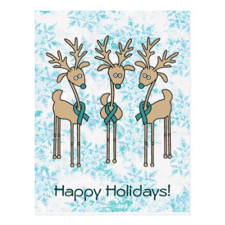 Teal Ribbon Reindeer - Cervical Cancer Postcard