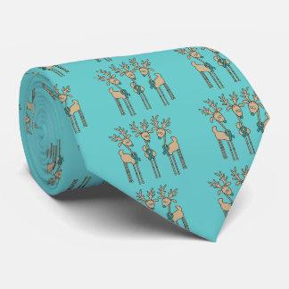 Teal Ribbon Reindeer Tie