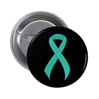 Teal Ribbon Support Awareness 2 Inch Round Button