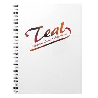 Teal Ribbon Support Ovarian Cancer Awareness Spiral Notebook