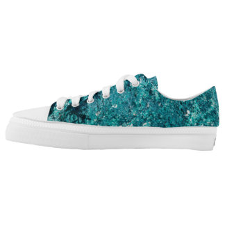 Teal rock pattern Low-Top sneakers