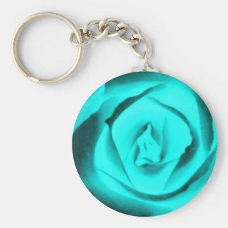 Teal Rose Bud Keychain