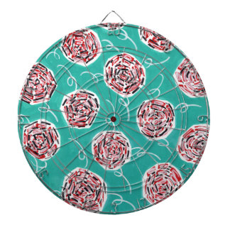 Teal Rose Pattern Dartboard