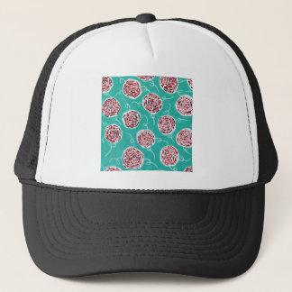 Teal Rose Pattern Trucker Hat