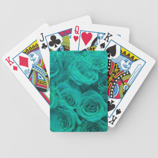 teal roses bicycle playing cards