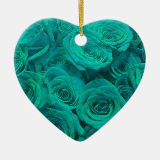 teal roses ceramic heart ornament