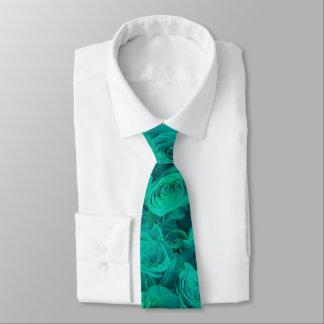 Teal roses tie