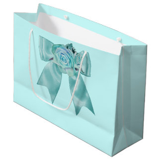 Teal Roses with Bow Large Gift Bag
