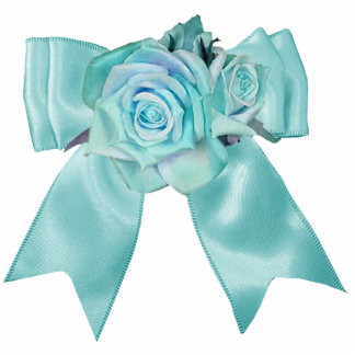 Teal Roses with Bow Ornament Photo Sculpture Ornament