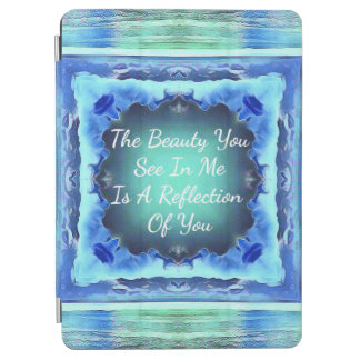Teal Royal Blue Beauty Reflection Quote iPad Air Cover