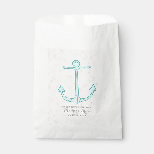 Teal Rustic Anchor Wedding Favour Bag