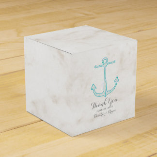 Teal Rustic Anchor Wedding Party Favor Boxes