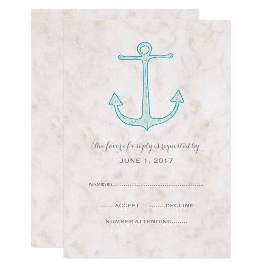 Teal Rustic Anchor Wedding RSVP Card
