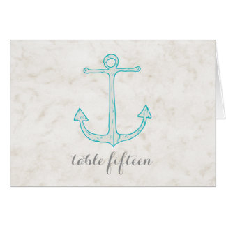 Teal Rustic Anchor Wedding Table Number