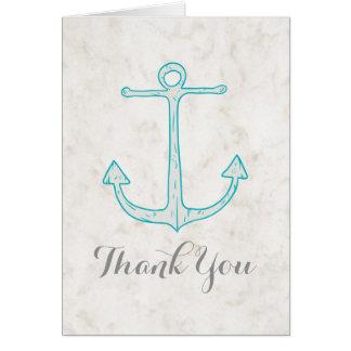 Teal Rustic Anchor Wedding Thank You Card