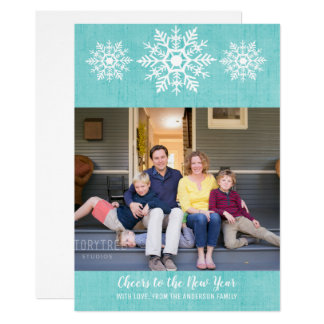 Teal Rustic Snowflake New Year's Photo Flat Card
