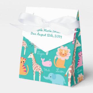 Teal Safari Theme Baby Shower Favor Box