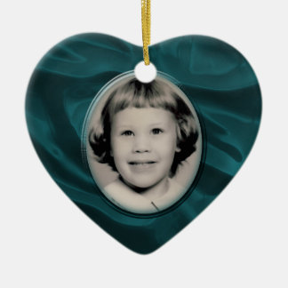 Teal Satin Heart Memorial Ornament