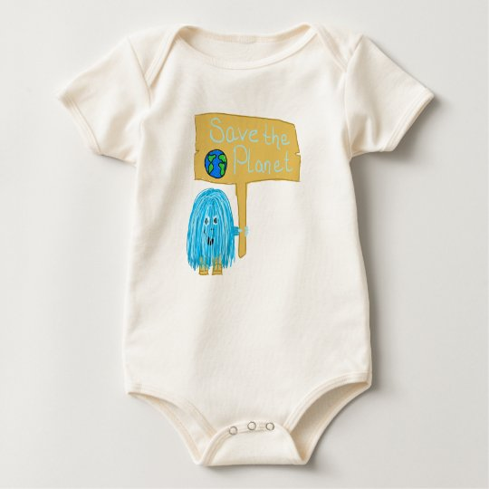 Teal Save The Planet Baby Bodysuit