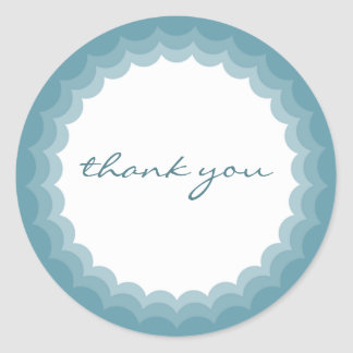 Teal Scalloped Edge Sticker - Thank you