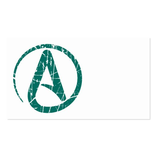 Teal Scratched and Worn Atheist Atheism Symbol Business Card