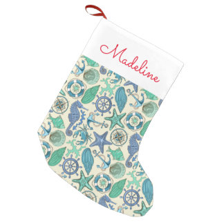 Teal Sea Animals Pattern | Add Your Name Small Christmas Stocking