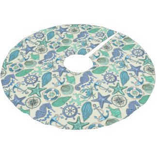 Teal Sea Animals Pattern Brushed Polyester Tree Skirt